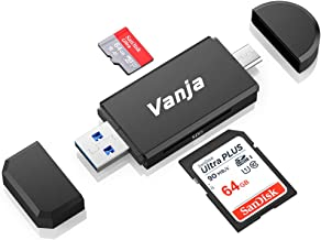 Vanja USB Type C SD Card Reader, USB 3.0 Micro SD Card Reader OTG Adapter for TF, SD, Micro SD, SDXC, SDHC, MMC, RS-MMC, Micro SDXC, Micro SDHC, UHS-I for Mac, Windows, Linux, PC, Laptop