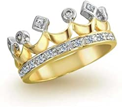Statement Fashion Pave Cubic Zirconia CZ Queen Princess Crown Band Ring For Teen For Women 14K Gold Plated Brass