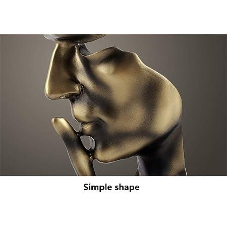 YHviking Main & Visage Statues,Le Silence est d'Or Statue Sculpture,Bureau Figurine Sculptures Abstraite,Résine Fini à la Main Statue Sculpture Abstraite-B 11x10x28cm(4x4x11inch)