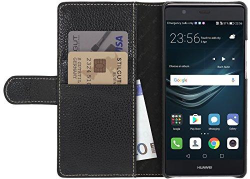StilGut Talis Schutz-Hülle für Huawei P9 Plus mit Kreditkarten-Fächern aus echtem Leder. Seitlich aufklappbares Flip Case in Handarbeit gefertigt für das Original Huawei P9 Plus, Schwarz