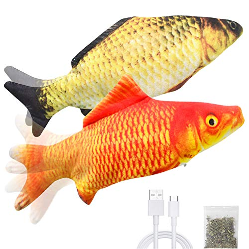 Malier 2 Pack Electric Fish Cat Toy, Realistic Plush Moving Wagging Fish Cat Toys Simulation Interactive Cat Kitten Toys for Indoor Cats Pets Kitten, Perfect for Biting, Chew and Kick (Yellow + Red)