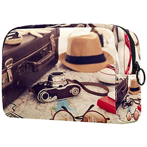 Neceser de Viaje para cosméticos Bolsa de Maquillaje con Cierre de Cremallera portátil Diaria,Gafas de Sombrero de cámara