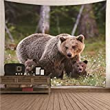 Kihomedy Wandteppich Mandala, Bärenfamilie Braun Wandteppich Deko Tuch Wandtuch Wandbehang 260X240Cm
