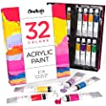 Acrylic Paint Set (32 Colors, 22 ml tubes, 0.74 oz.) for Canvas, Crafts, Wood Painting - Rich Pigment, Non Fading, Vibrant Non Toxic paints for Kids, Adults, Beginner & Professional Artists by Chalkola