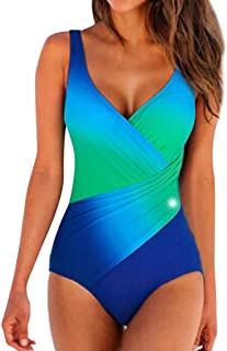 Women Bathing Suits One Piece Monokini Gradient Tummy Control Summer Sexy Wrap Swimsuits for Beach Swimming Pool