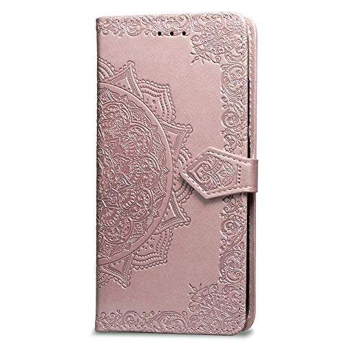 3C Collection Fundas iPhone X Tapa de Falsa Piel Mandala Oro Rosa, Fundas iPhone XS Libro Iman con Tarjetero, Grabado Flores de Funda para iPhone X y iPhone XS Antigolpes Mujer