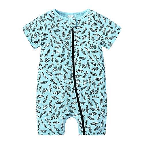Treer Baby Strampler Mädchen und Jungs, Spielanzug Baumwolle Sommer Babybody Baby Kurzarm-Body für Süß Neugeborene Weich Bequem Short-Sleeve Bodysuits (80cm,Blaue Blätter)