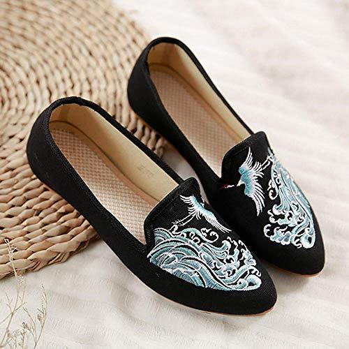 SYXYSM Zapatos Grúa en el río Bordado Mujeres Lienzos Pisos Ladies Casual Punta de Toe Denim Ballet Zapatos Confort Mujer Retro Slip Ons Zapatos Huesos (Color : Schwarz, Size : 37 EU)