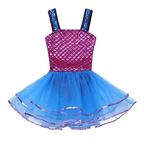 iixpin Ballett Kleider Mädchen Kinder Meerjungfrau Tütü Balletkleid Kindertanz Kostüme Fischschuppen Trikots Tanz Leotards Kleider, 3-10 Jahre Blau&Dunkel Rosa 128