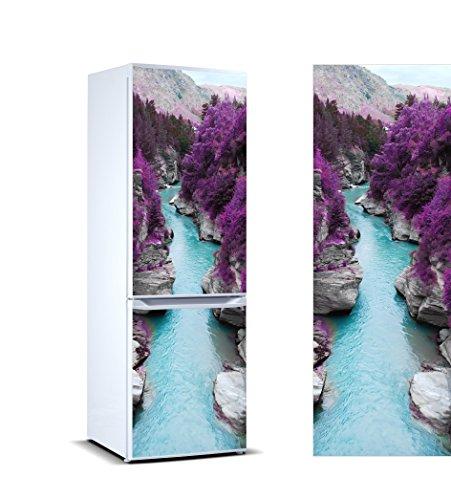 Pegatinas Vinilo para Frigorífico Rio vegetación Morada | Varias Medidas 185x70cm | Adhesivo Resistente y de Fácil Aplicación | Pegatina Adhesiva Decorativa de Diseño Elegante