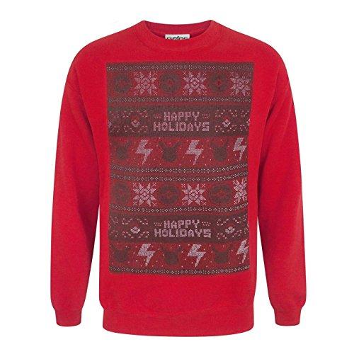 Vanilla Underground Pokemon Happy Holidays Men's Christmas Sweater Red