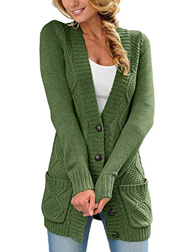 luvamia Womens Fern Green Casual Long Sleeve Open Front Buttons Cable Knit Pocket Sweater Cardigan Outwear Size M(US 8-10)
