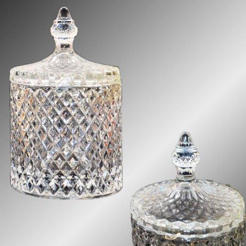 Bonboniere Glasschale Kristallschale mit Deckel Bonbonglas Zuckerdose Schale Neu