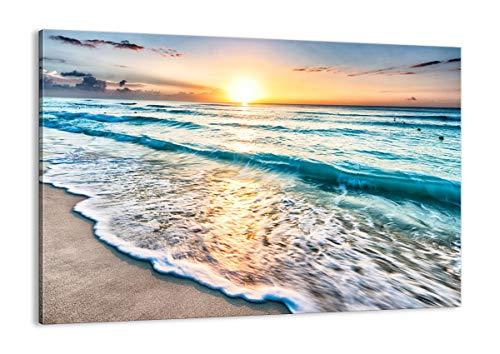 Cuadro sobre lienzo - Impresión de Imagen - mar ola playa - 100x70cm - Imagen Impresión - Cuadros Decoracion - Impresión en lienzo - Cuadros Modernos - Lienzo Decorativo - AA100x70-3621