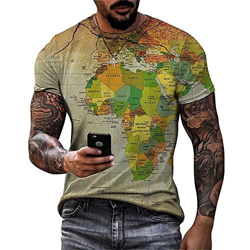 Shirt Casual Hombre Manga Corta Gran Tamaño Cuello Redondo Transpirable Hombre T-Shirt Estilo Hip Hop Tendencia Creativa Estampado Hombre Shirt Moda Suelta Hombre Ropa De Calle