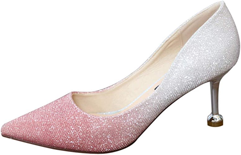 YMFIE Bien avec des Talons à Paillettes Couleur Gradient Bouche Peu Profonde de Haute Couture a souligné Chaussures Sexy Chaussures de soirée