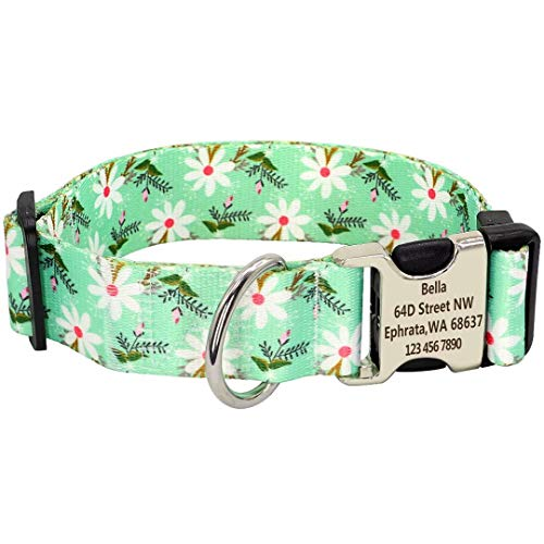 PET ARTIST Collar de perro floral personalizado con nombre de mascota número de teléfono dirección, collar de perro de 3,8cm de ancho para niña/mujer, collares de nailon ajustables para perros grandes
