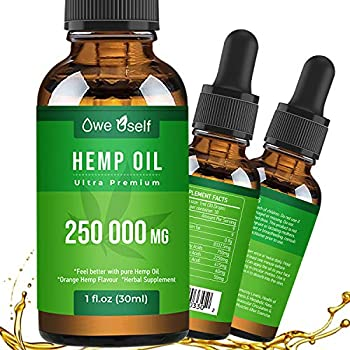 Organic Hemp Seed Oil Drops Extract 250000MG for Pain Relief Natural Hemp Seed Oil Rich in Omеga 3 6 9 Helps with Stress Relief Sleep Skin Care& Hair Growth.Vegan Friendly-Non GMO