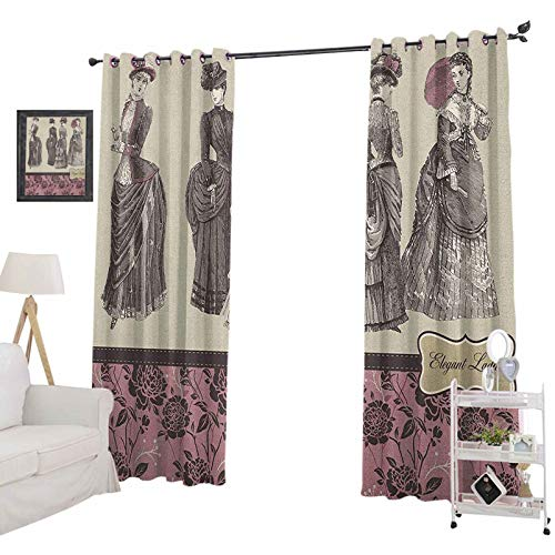 YUAZHOQI Victorian Blackout CurtainLadies Clothes Fashion History Dress Handbag Feather Gloves Floral Design Print Noise Reducing Curtain 52' x 72', Grey Rose