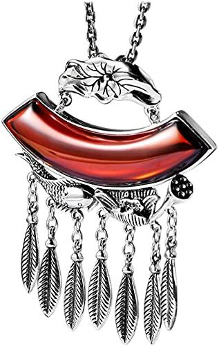 Collar Mujer Collar Hombre Colgante S925 Plata de Ley Retro Étnico Loto Loto Loto Carpa Colgante Granate Hoja Borla Suéter Cadena-Collar Niñas Niños Regalo