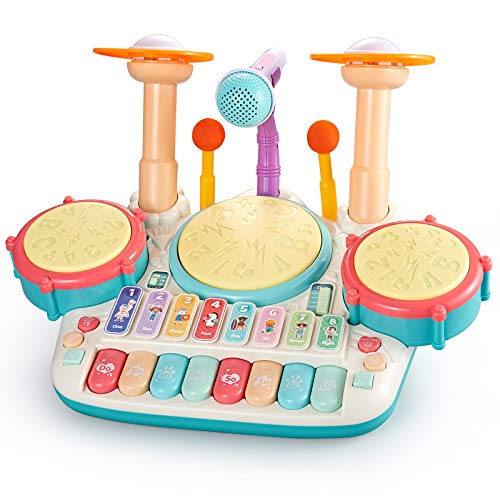 Bu-buildup 5 en 1 batería de piano para niños, juguetes musicales para niños, juguetes de xilófono con teclado con luz, juguete...