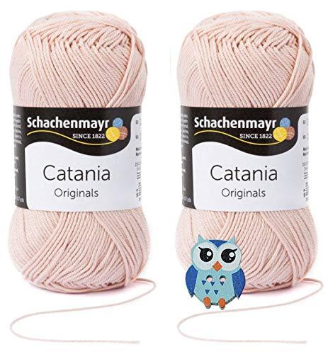Schachenmayr Catania Wolle 2x50 Gr, 100% Baumwolle + 1 Eulen Knopf(263 Aprikot)