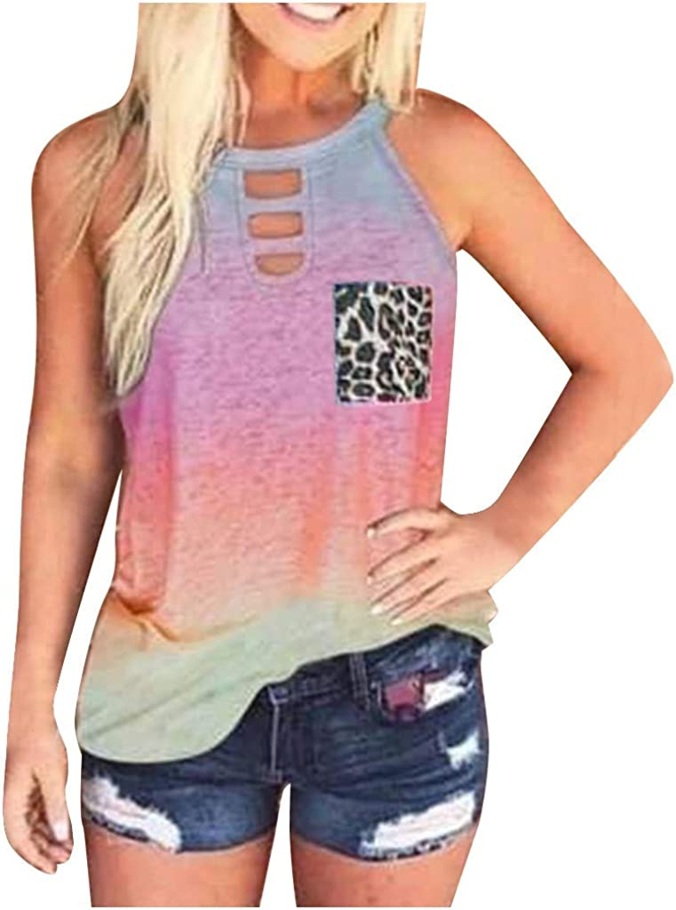 Women's Tie-Dyed Sleeveless Workout Tank Tops Loose Leopard Print Camisoles Crew Neck Hollow Yoga Athletic T Shirts