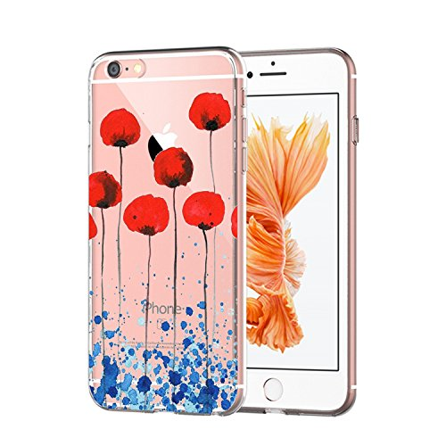 iPhone 6 Case, iPhone 6s Cover, Alsoar Sottile e Leggera Silicone Trasparente Anti Scivolo Graffi Morbido TPU Design Creativo Cover per Apple iPhone 6 6s 4.7 Pollici (Fiore)