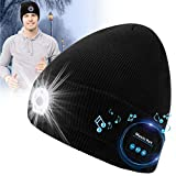 Sweethat Bluetooth Beanie Hat Upgraded with Speaker Winter Bluetooth Hats with Mic Beanie Headphones Wireless Music Hat LED Beanie Hat with Light Rechargeable for Men Women Outdoor Running Gift