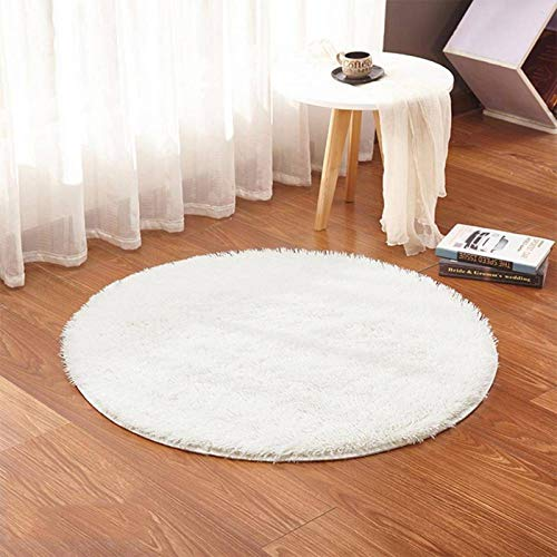 N-B RULDGEE Fluffy Round Alfombra For Living Room Faux Fur Carpet Kids Bedroom Plush Shaggy Computer Chair Upholstery Area Rug Mats