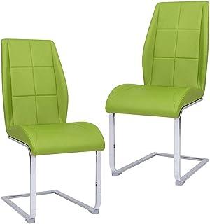 vidaXL 2X Sillas de Comedor Voladizas Asiento Mobiliario Muebles Cocina Salón Sala de Estar Escritorio Acolchado Respaldo Tela Verde