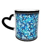 XCNGG Taza de café con cinta de cáncer de colon que cambia de color, taza divertida de cerámica sensible al calor