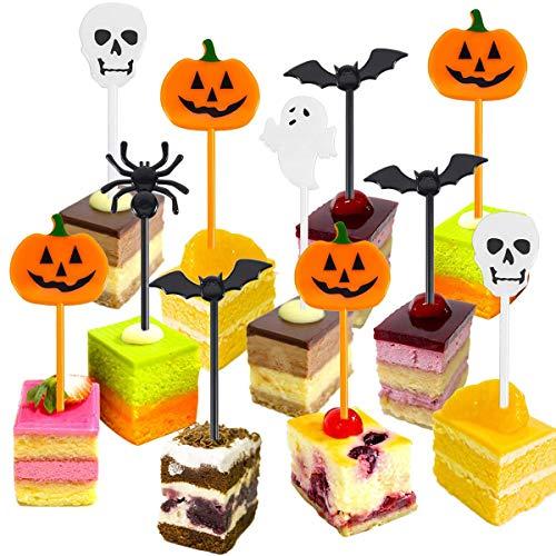 Aiboria 50 Stück Plastik Halloween Picks Halloween Cupcake Topper Picks Geisterdekor für Kinder Geburtstagsfeier Themenparty