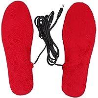 Keenso Plantillas Calefactables, 1 par Plantillas para Calefactar los Pies con Cable USB (Mujer-Rojo)
