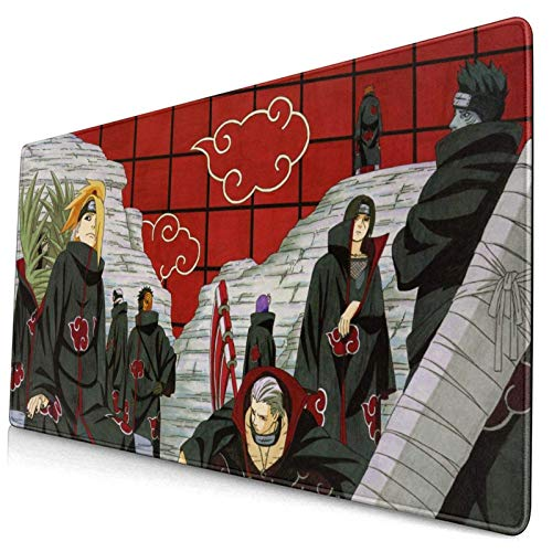 Anime Naruto Akatsuki Deidara Itachi Gaming Keyboard and Mouse Pad Large Extended Gamer Mouse Mat Non-Slip Rubber Full Desk Mousepad for Computer Laptop Office 15.8 x 29.5 Inch