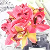 Esppied Artificial Flowers 7 Head Orchid Home Decoration Hotel Table Fake Flower Decoration Wedding Bride Bridesmaid Holding Bouquet (Color : Watermelon red)