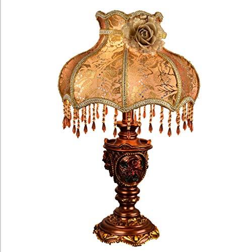 Lampara Mesilla de Noche Lámpara de sobremesa retro europea dormitorio lámpara de noche cálida creativa clásica lámpara nostálgica lámpara del hogar E27 Lámpara de Escritorio (Color : A)
