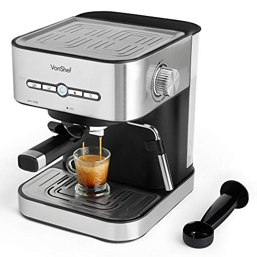 VonShef Espresso Machine 15 Bar Pressure Pump ? Barista 2 Cup Stainless Steel Coffee Maker with Milk Frother, Drip Tray, 1.5L Water Tank & Cup Warmer for Latte, Cappuccino, Americano & Flat White
