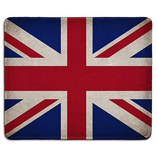 dealzEpic - Art Mousepad - Union Jack British Flag Mouse Pad Printed with Vintage Grunge UK Flag - Stitched Edges - 9.5x7.9 inches