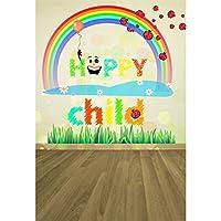 GooEoo 5×7フィート漫画幸せな子ビニール写真の背景かわいい笑顔顔レインボーテントウムシ草木製の床図背景子供赤ちゃん幼児の肖像画幼稚な壁紙スタジオ