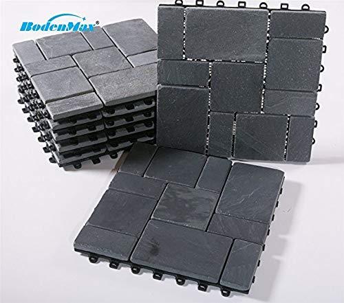 BodenMax® LLSLAROMA-BLK-5-YP leisteen-romanpatroon mozaïek kliksysteem vloertegels 30 x 30 cm terrastegels kliktegels balkontegels grijszwart (2 stuks, 0,18 m², patroontegels)