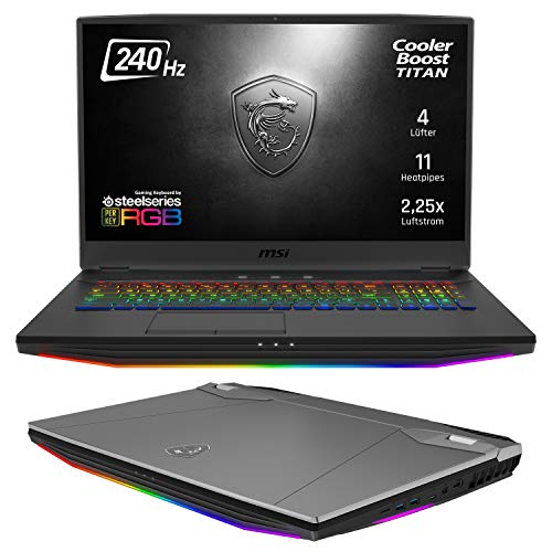 MSI GT76 9SG-087 Titan DT (43,9 cm/17,3 Zoll) Gaming-Laptop (Intel Core i9-9900K 5GHz, 64GB RAM, 1TB PCIe SSD + 1TB HDD, Nvidia GeForce RTX2080 8GB GDDR6 VRAM, Windows 10 Pro) stahlgrau-schwarz