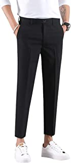 Ankle-Length Dress Pants for Men Slim Fit Cropped Trousers