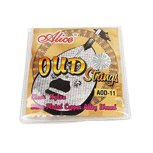 Alice 1 juego de cuerdas Oud de nailon y herida chapada en plata, 11 cuerdas. 022 pulgadas - .041 pulgadas.