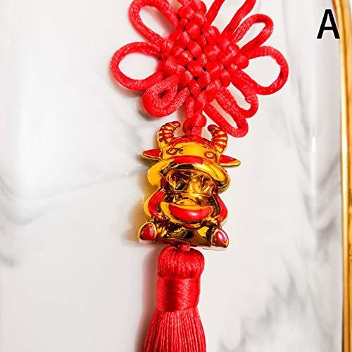 weichuang Borlas sedosas hechas a mano 1 pieza decoración del zodiaco chino Año Nuevo Lucky 2021 Año de buey colgante adornos de nudo chino recuerdo decoración (color: chocolate)