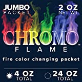 CHROMO FLAME Fire Color Changing Packets for Fire Pit, Campfire, Bonfire, Outdoor Fireplace | Magic, Colorful, Rainbow, Mystic Flames | 4 oz Total, 2-2 oz Jumbo Packets