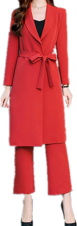 Women's Lady 2 Piece Slim Fit Business Office MidLong Coat Pants Suit Set with Belt