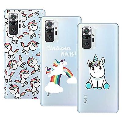 Young & Min Compatible con Funda Xiaomi Redmi Note 10 Pro, (3 Pack) Transparente TPU Carcasa Delgado Anti-Choques con Dibujo de Unicornio