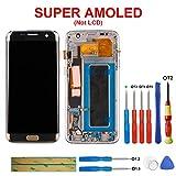 swark Pantalla táctil Super AMOLED compatible con Samsung Galaxy S7 Edge SM-G935F Gold con marco + herramientas (versión europea)
