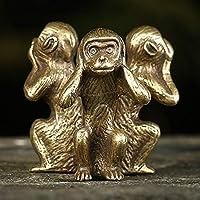 SJNB 車の装飾あなたの家の装飾の付属品のミニチュアのための固体真鍮3ジャック固体銅猿
